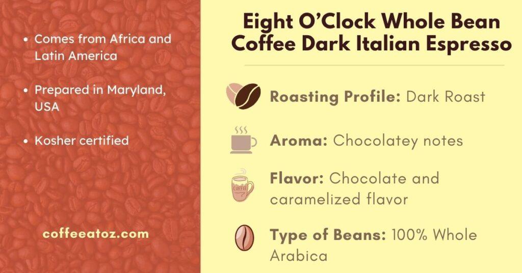 Eight O'Clock Whole Bean Coffee Dark Roast Italian Espresso